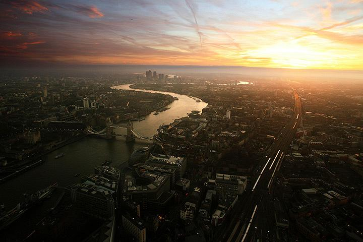 Sunrise seen from the Shard